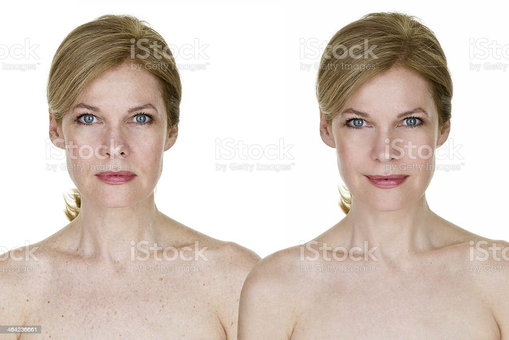 Edited and unedited woman stock photo