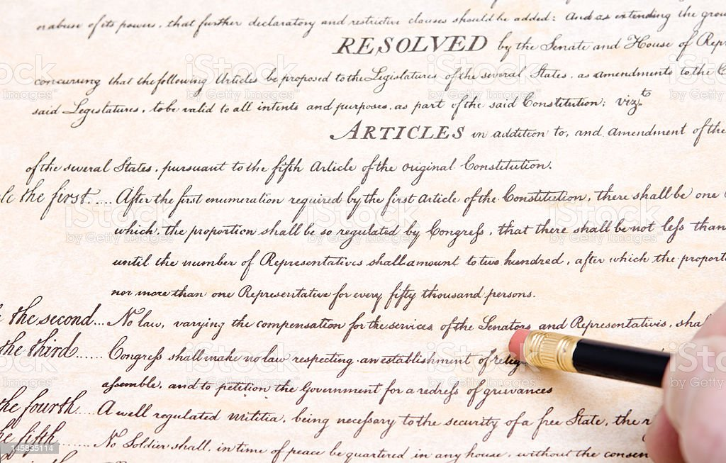 Editing Erasing the First Amendment to U.S. Constitution stock photo