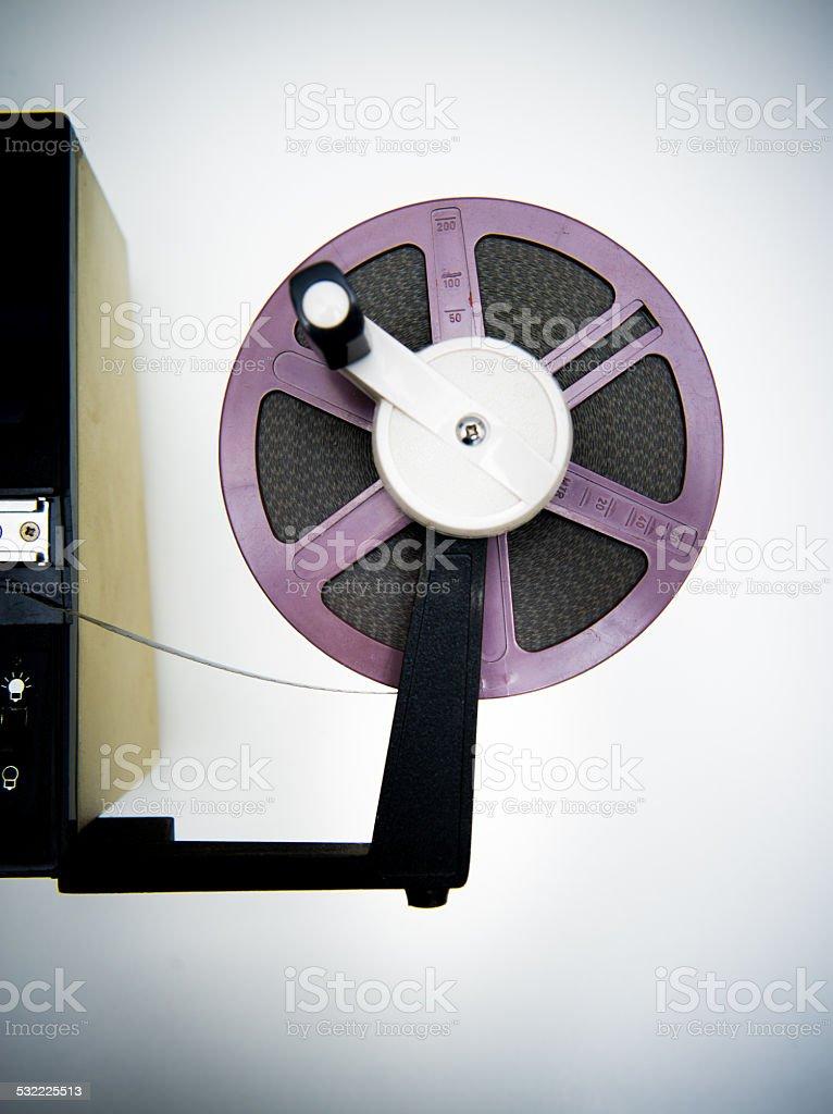 Editing machine and purple 8mm reel stock photo