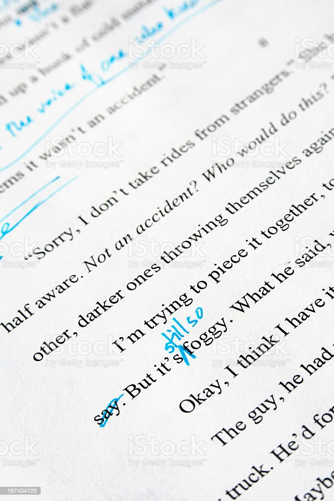Editing of a Mystery Novel: Text with Copyedits royalty-free stock photo