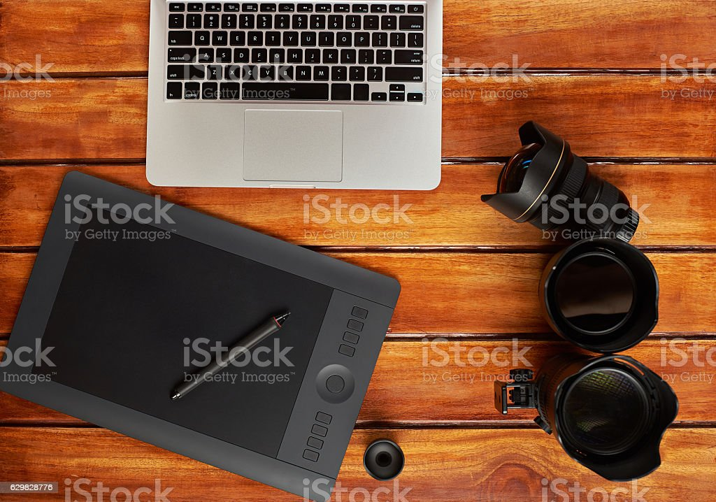 Editing photo workplace stock photo