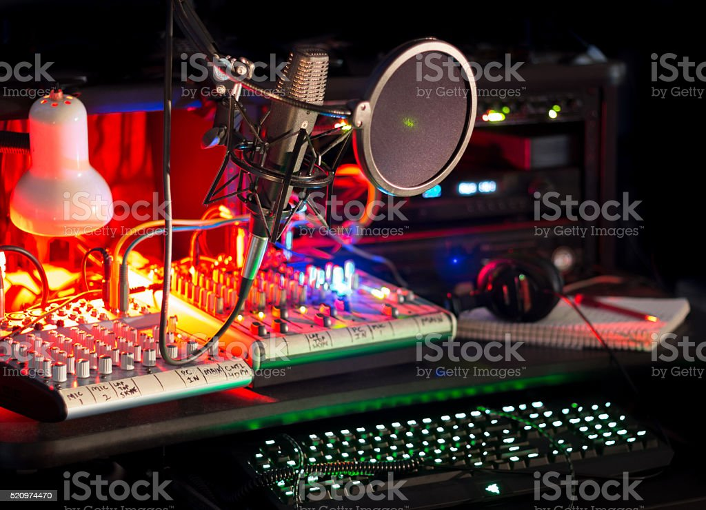Editing Station Mixers Keyboards Microphone Tech stock photo