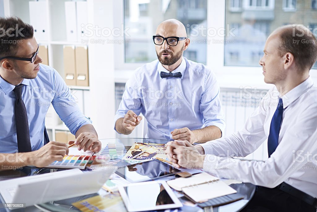 Editorial discussion royalty-free stock photo