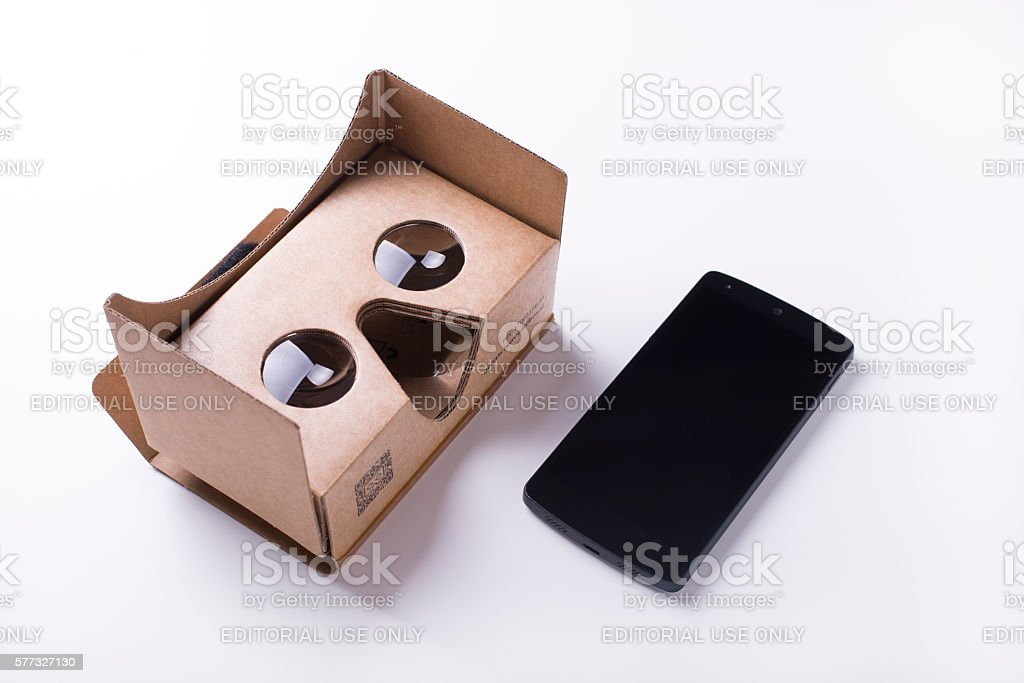 editorial shot for cardboard virtual reality headset stock photo