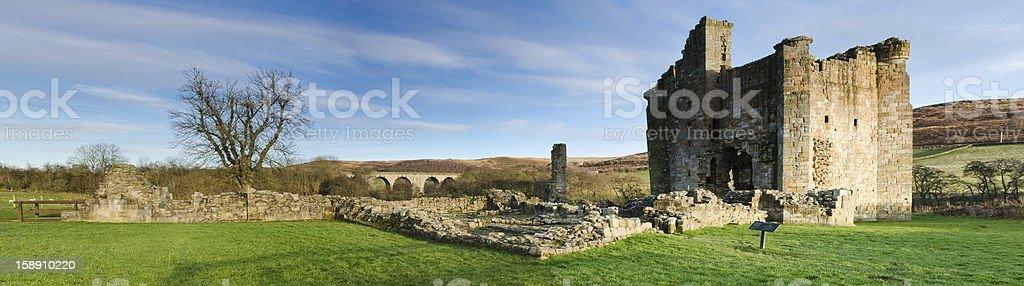 Edlingham Castle panorama stock photo