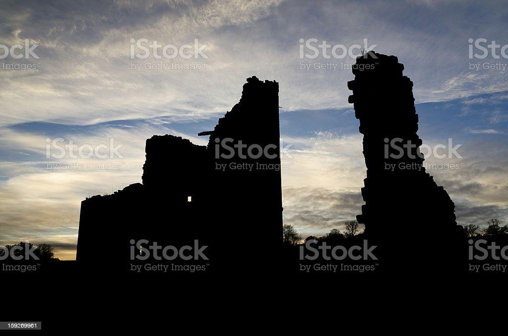 Edlingham Castle silhouette stock photo