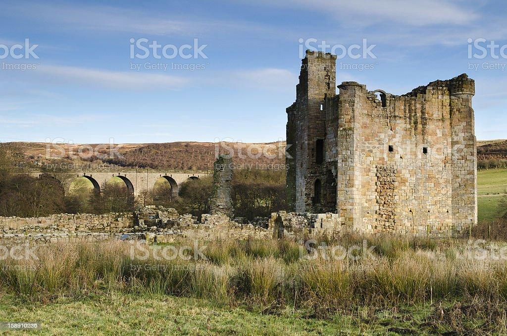 Edlingham viaduct and castle stock photo