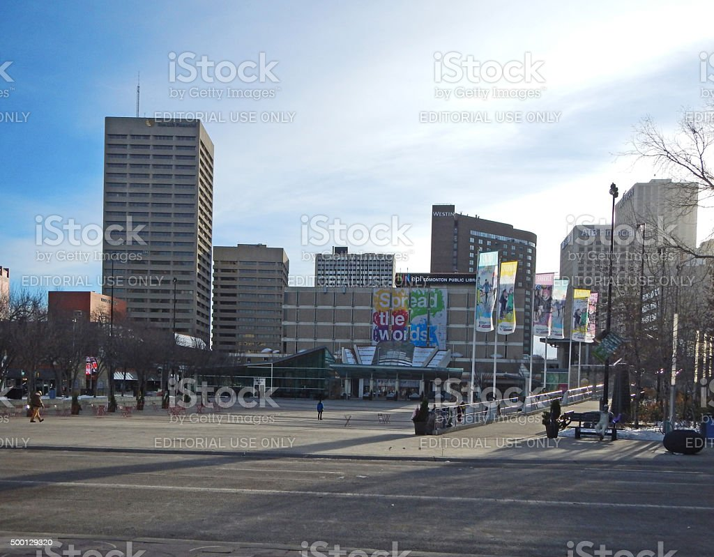Edmonton Buildings  view from Churchill Square in Winter stock photo