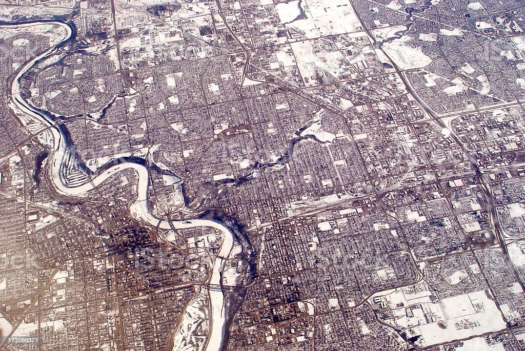 Edmonton from 33000 ft stock photo