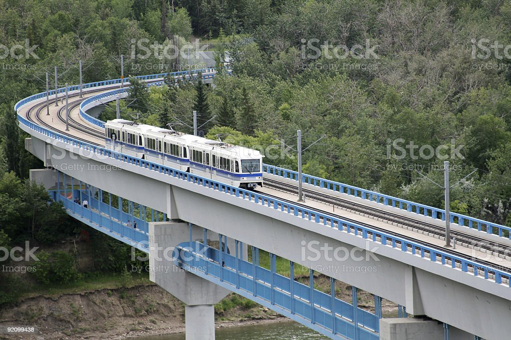 Edmonton LRT Train Leaving University Station stock photo