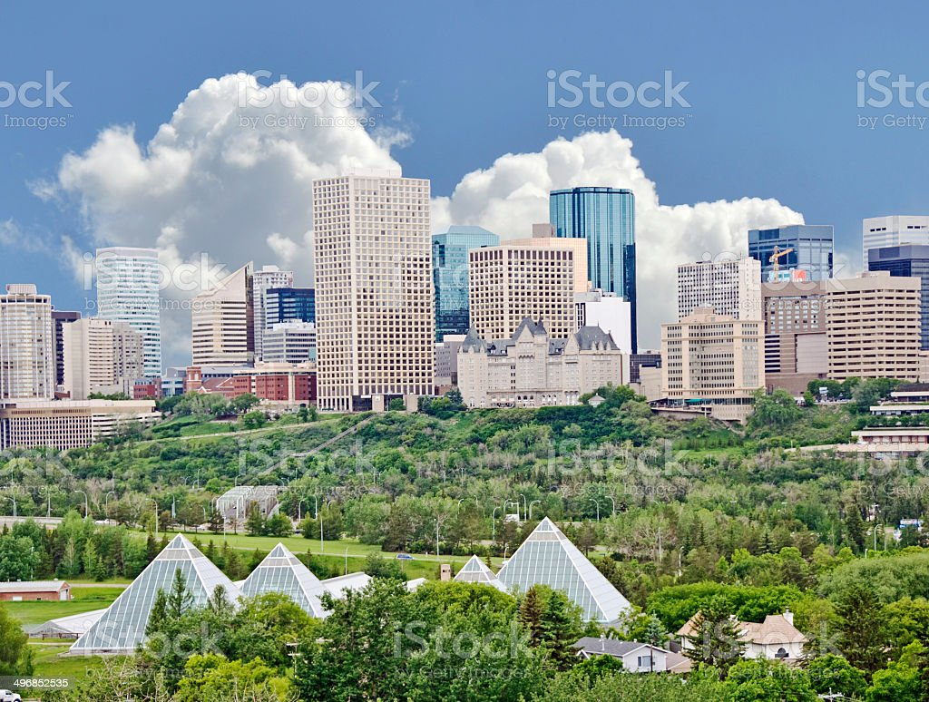 Edmonton Pamoramic Skyline and Valley In The Summer stock photo
