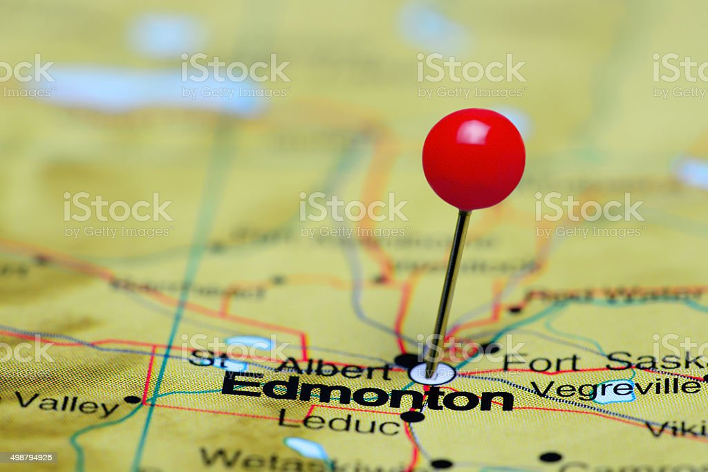 Edmonton pinned on a map of Canada stock photo