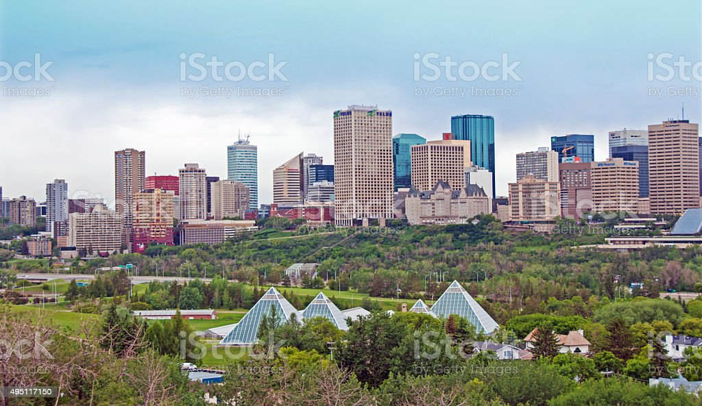 Edmonton River Valley  and skyline  in early  Spring stock photo