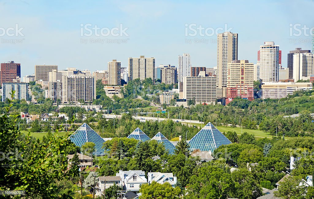 Edmonton Skyline And Muttart Conservatory stock photo