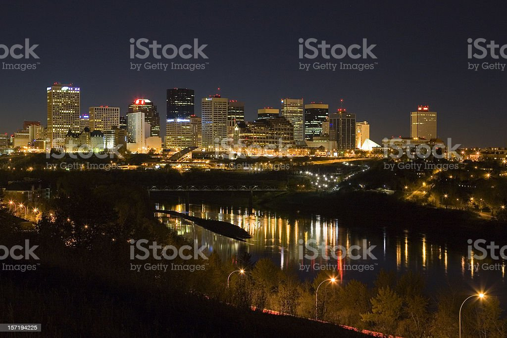 Edmonton Skyline at Night stock photo