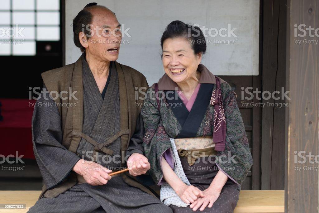 Edo period couple stock photo