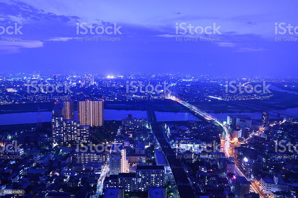 Edogawa evening stock photo