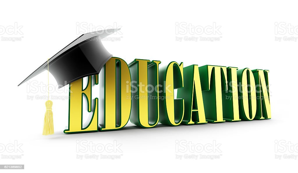 education and graduation cap isolated on a white background. stock photo