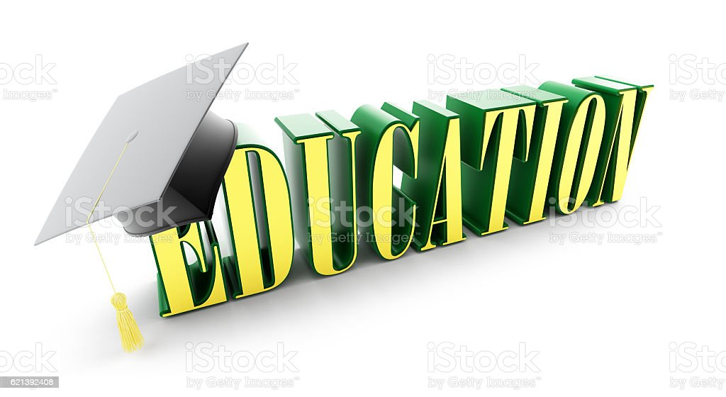 education and graduation cap stock photo