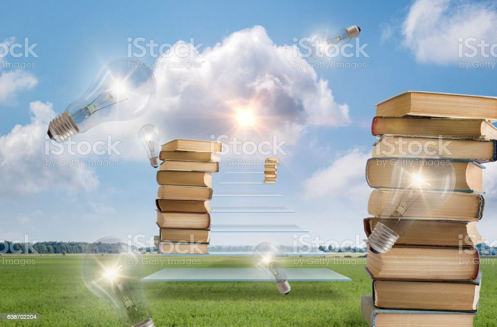 Education and ideas as a path to success. stock photo