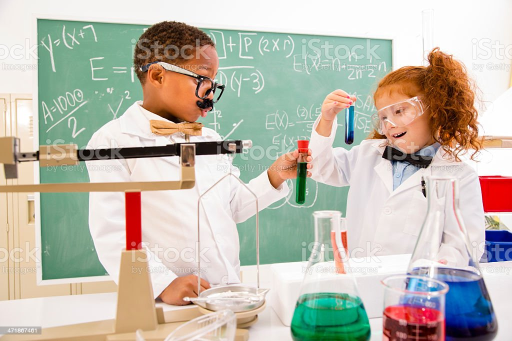 Education and Science:  Retro Revival children playing scientists. royalty-free stock photo