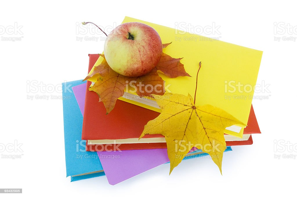 Education. Books and apple. royalty-free stock photo