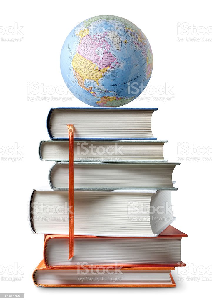 Education. Books with globe. royalty-free stock photo