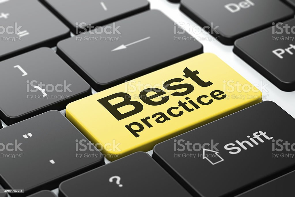 Education concept: Best Practice on computer keyboard background stock photo
