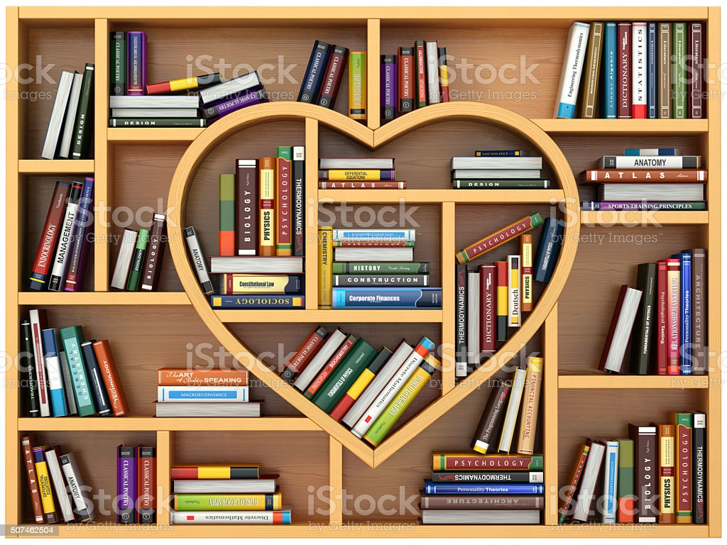 Education concept. Bookshelf with books and textbooks in form of stock photo