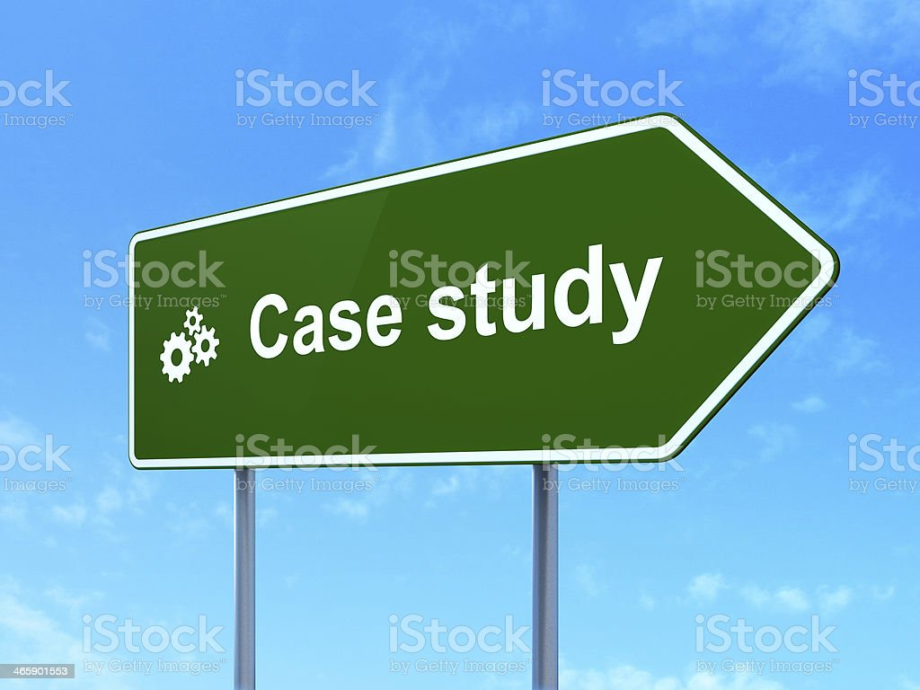 Education concept: Case Study and Gears on road sign background stock photo