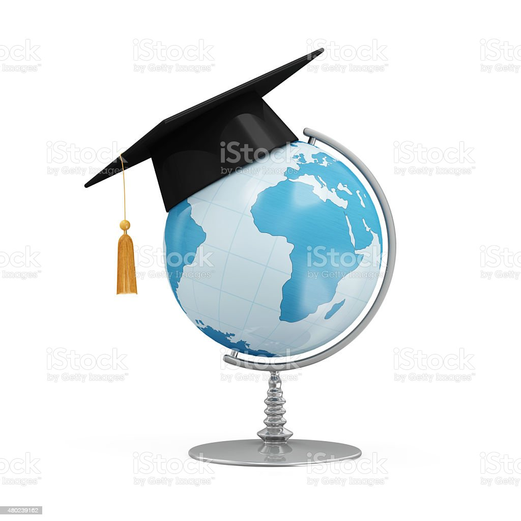 Education Concept. Desk Globe with Graduation Cap stock photo