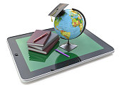 Education concept. E-learning. Globe and stack of books on digit
