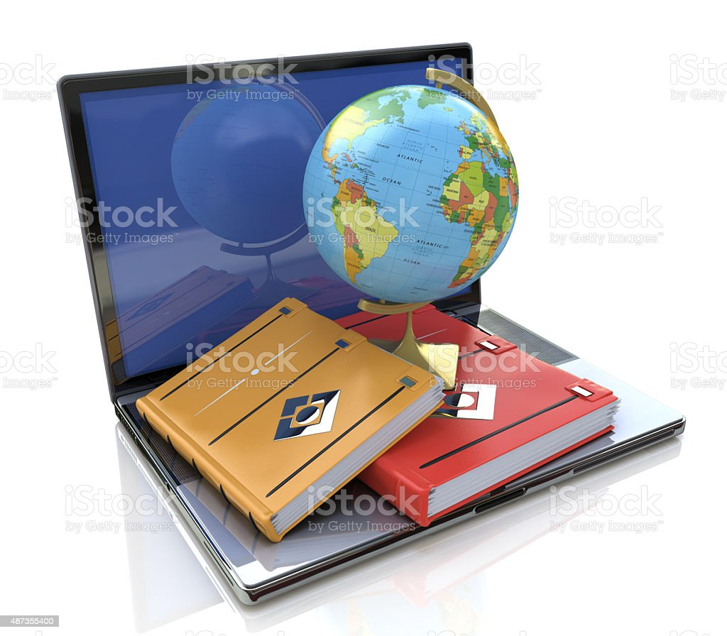 Education concept. e-learning in the world stock photo
