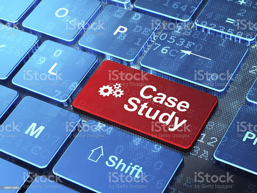 Education concept: Gears and Case Study on computer keyboard background stock photo