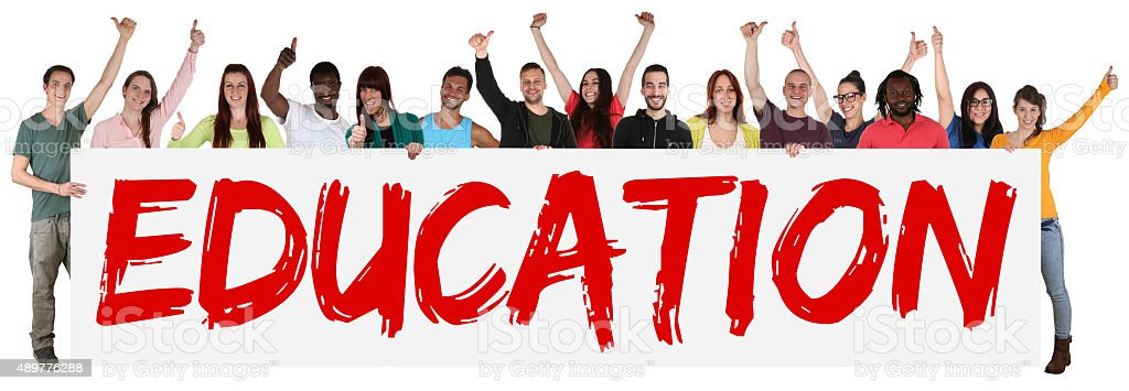 Education concept group of young multi ethnic people holding banner stock photo