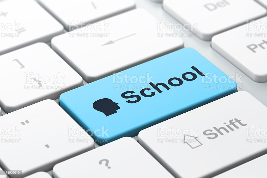 Education concept: Head and School on computer keyboard royalty-free stock photo