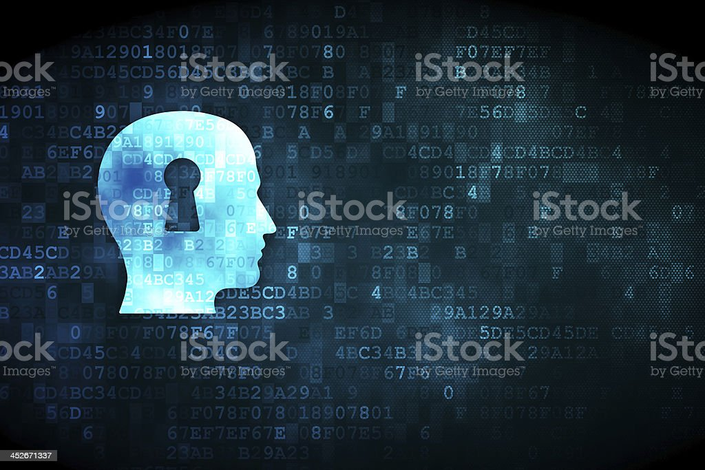 Education concept: Head With Keyhole on digital background royalty-free stock photo