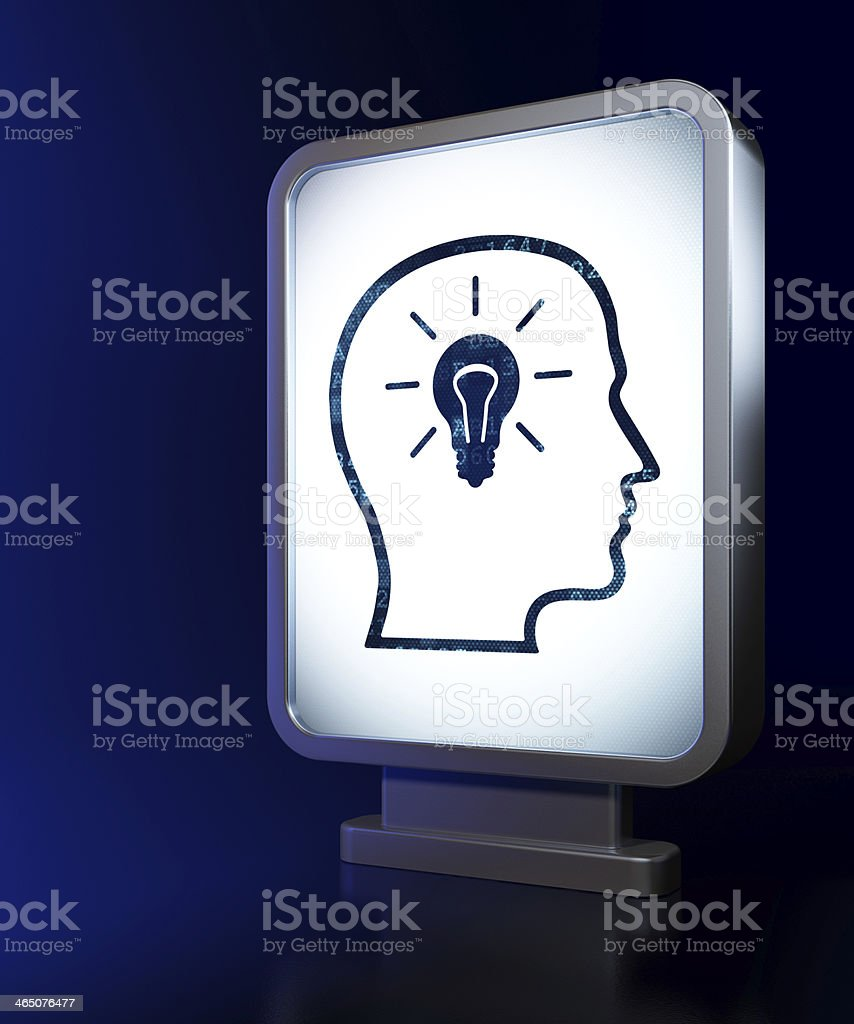 Education concept: Head With Lightbulb on billboard background royalty-free stock photo