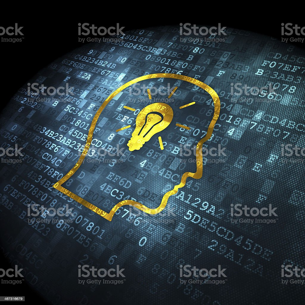 Education concept: Head With Lightbulb on digital background royalty-free stock photo