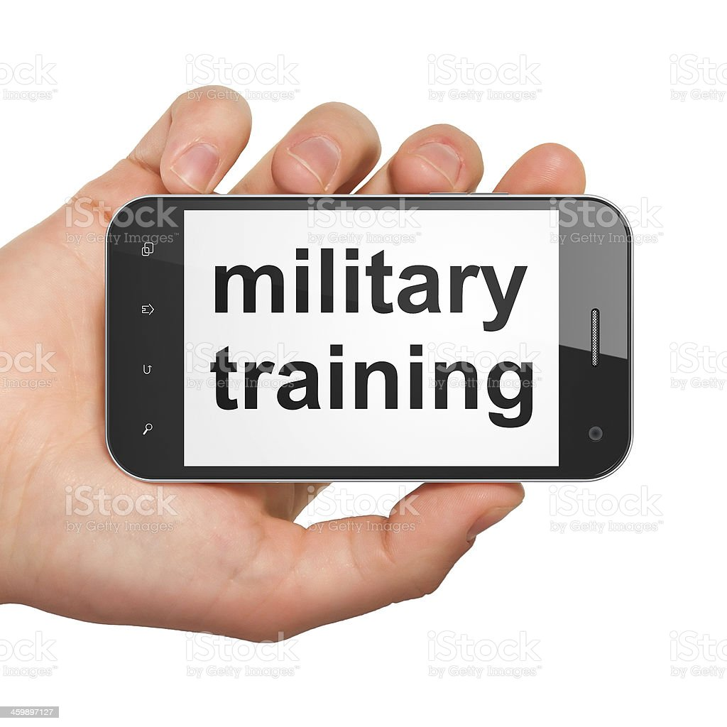 Education concept: Military Training on smartphone stock photo
