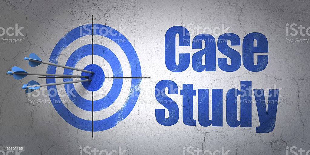 Education concept: target and Case Study on wall background stock photo