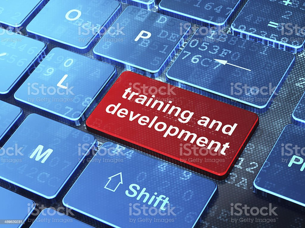 Education concept: Training and Development on computer keyboard stock photo