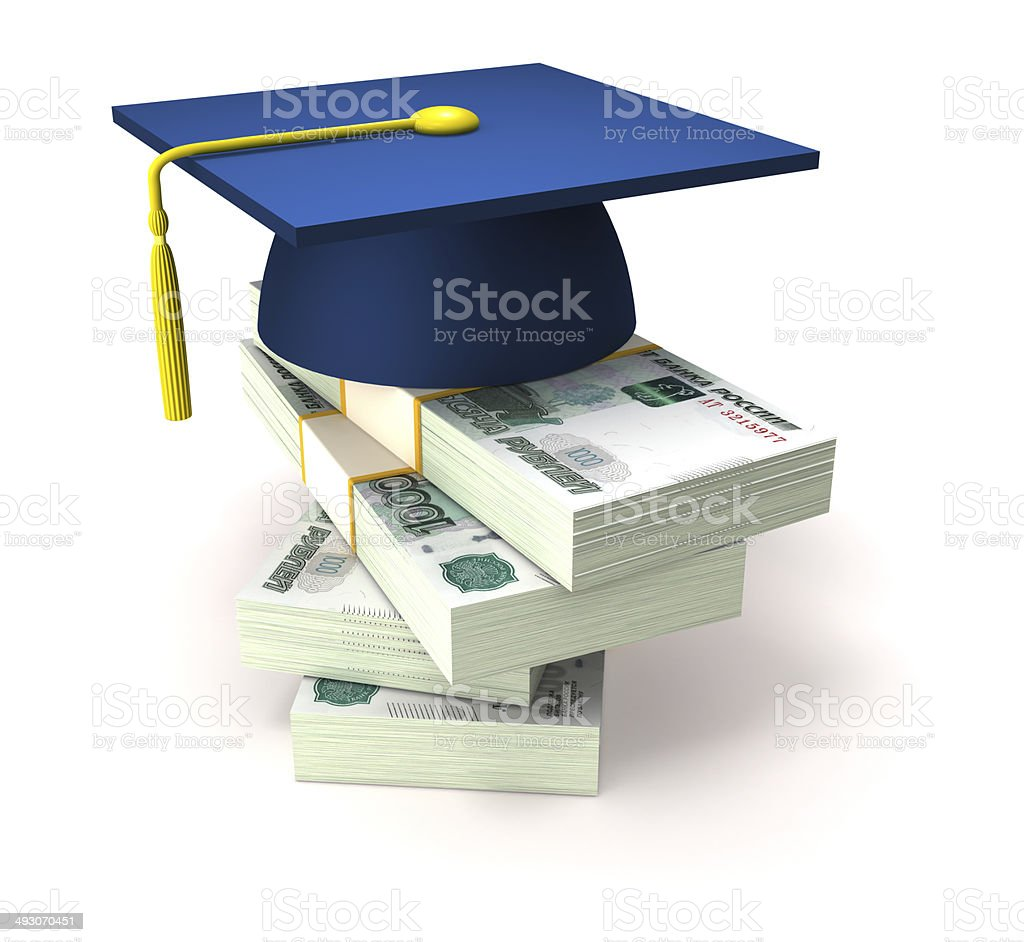Education costs and Russian rubles stock photo