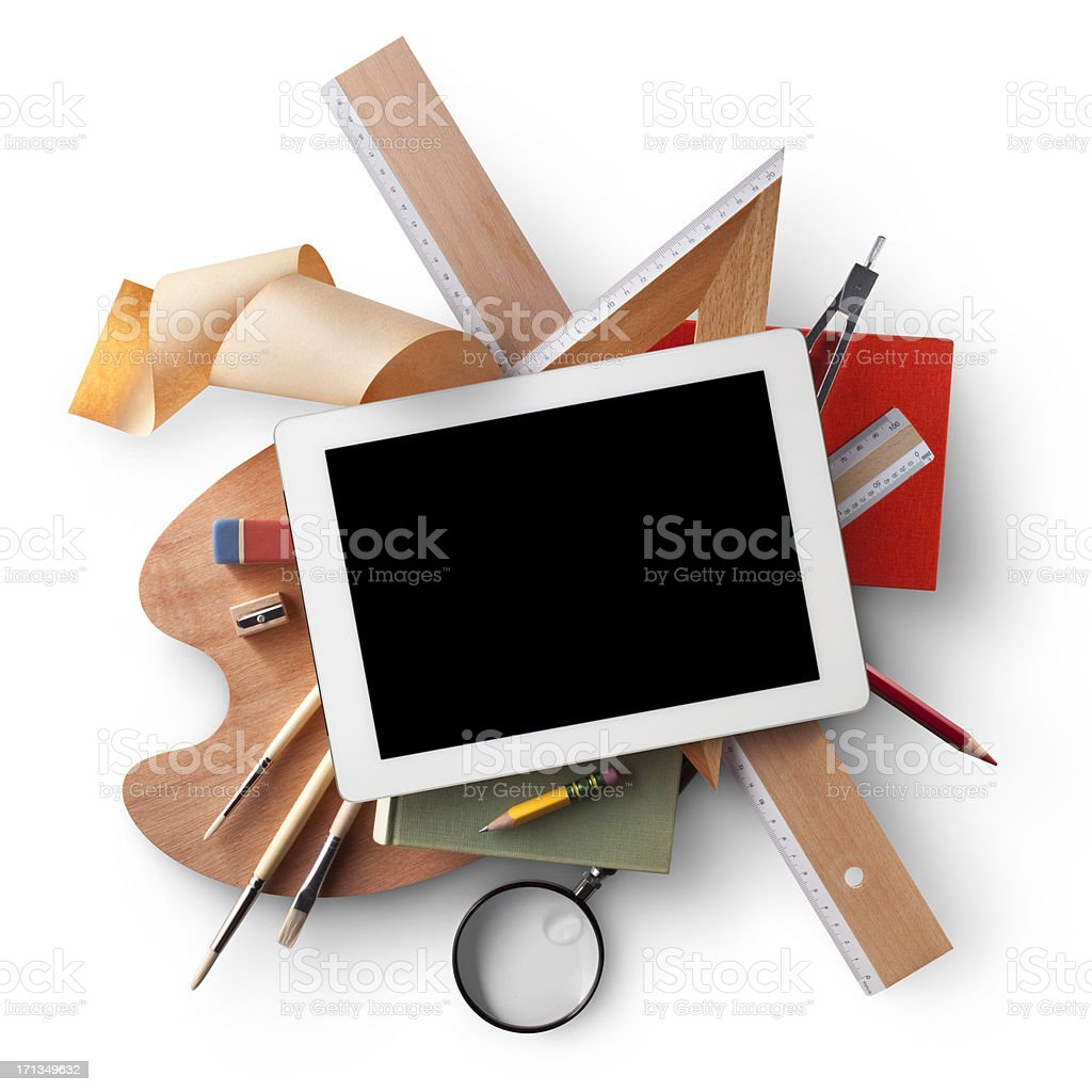 Education. Digital tablet with school supplies. royalty-free stock photo