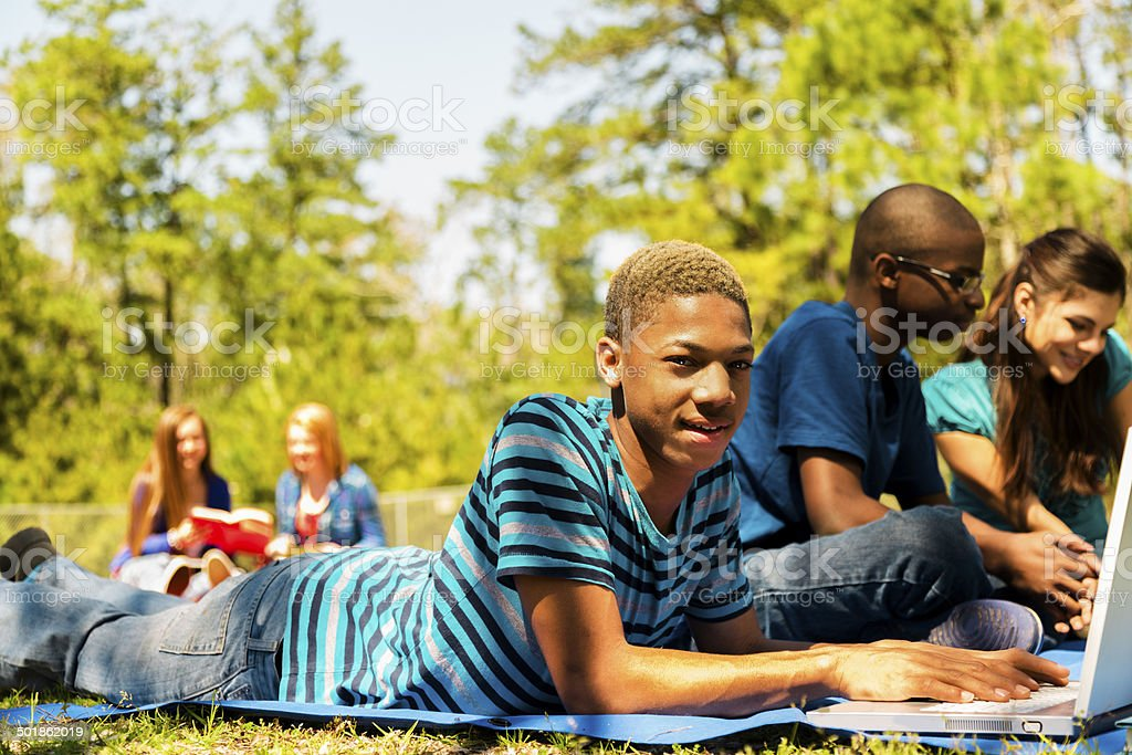 Multi-ethnic group of high school friends hang out on campus or park....