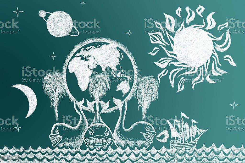 Education funny illustration on blackboard with sailing ship and stock photo