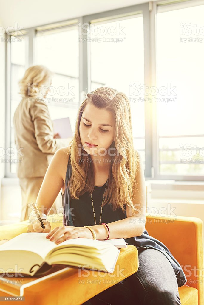 Education Girl Studying in Library royalty-free stock photo