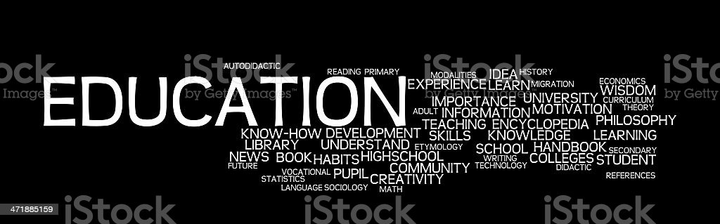 education in black word cloud - textcloud stock photo