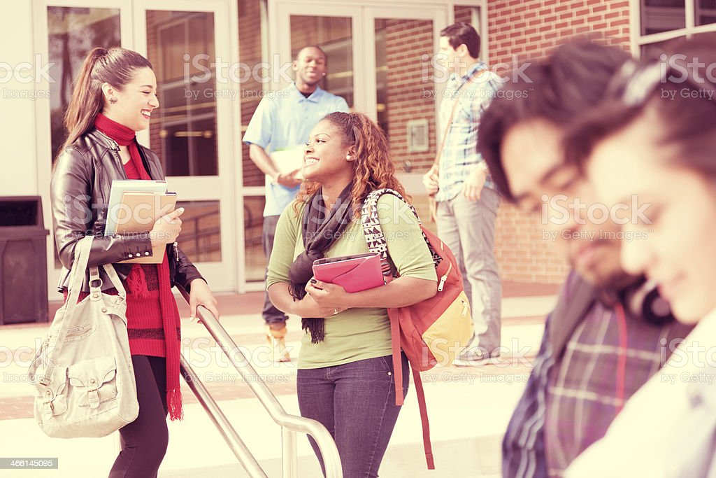 Multi-ethnic group of college studens talking outside school building...