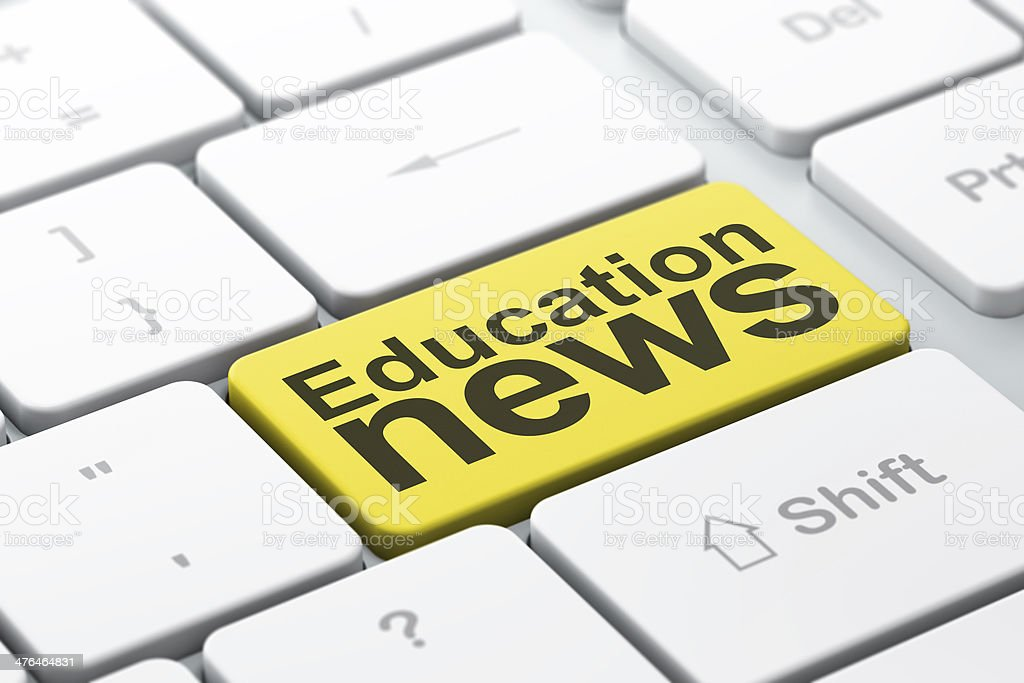 Education News on computer keyboard background royalty-free stock photo